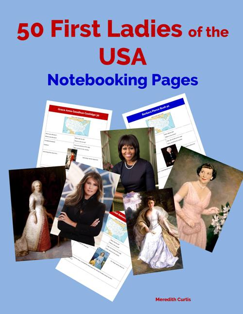 50 First Ladies of the USA Notebooking Pages by Meredith Curtis